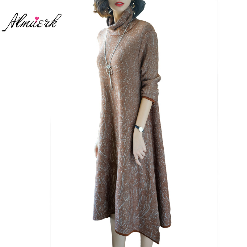 Loose big size autumn winter knitted sweater dress women long temperament backing dress semi-high collar casual pullovers yz481 rqueena new arrival double v neck bodycon pencil dress 2017 fashion autumn winter women casual long knitted sweater dress women
