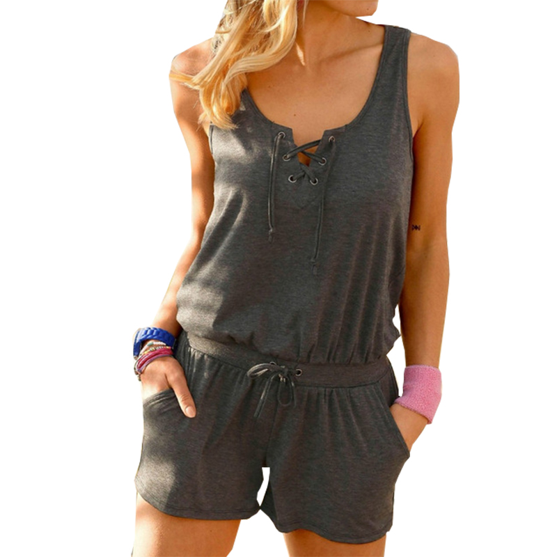 Beach Summer Women Playsuits Rompers Solid Sleeveless Jumpsuits Shorts Pockets Casual Playsuit Overalls Plus Size XXL GV921