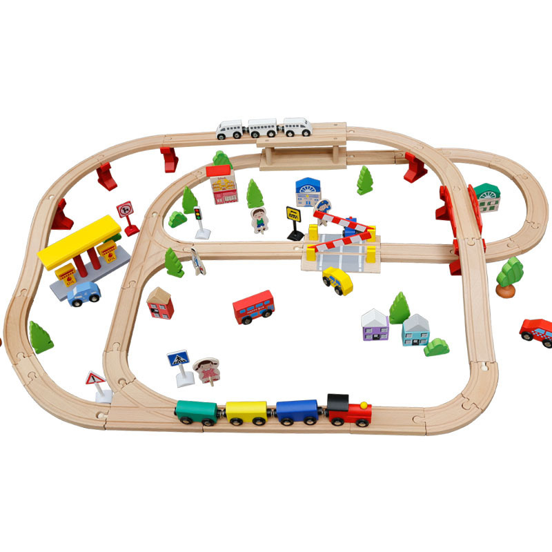 100pcs Wooden environmentally friendly eucalyptus wood blocks Simulated train track Childrens assembled educational action toys100pcs Wooden environmentally friendly eucalyptus wood blocks Simulated train track Childrens assembled educational action toys