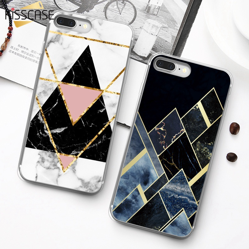 Galleria fotografica KISSCASE Soft Silicone Case For iPhone X XS Max Xr Luxury Geometric Marble Case For iPhone 6 6S 7 8 Plus 5 5S SE Capinhas Fundas