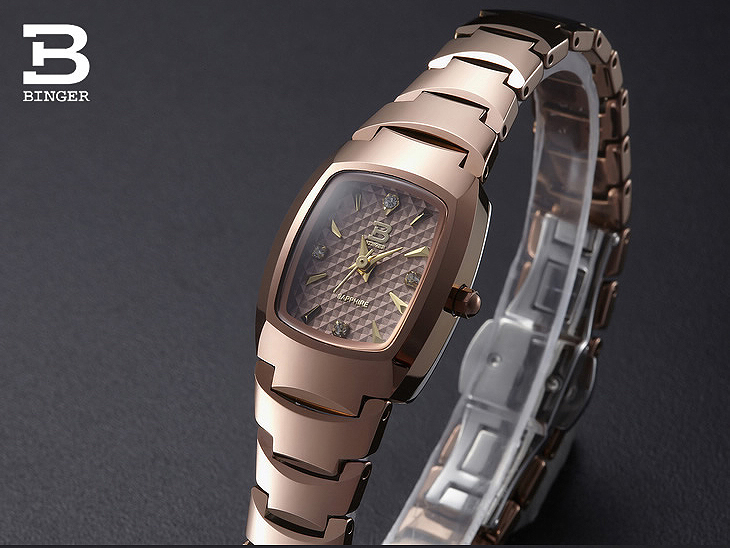 Luxury Brand Switzerland Binger tungsten steel womens watches quartz wristwatches beer barrel full steel clock BG-0394-8Luxury Brand Switzerland Binger tungsten steel womens watches quartz wristwatches beer barrel full steel clock BG-0394-8