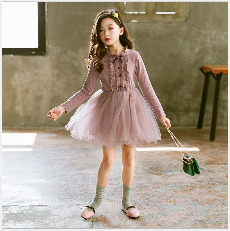 girls princess lace tulle dress teenager girls long sleeve dress fall winter sweet tiered birthday party dress for school girls tassel tie neck trumpet sleeve tiered floral dress