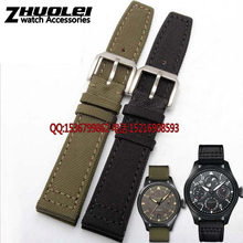 Nylon Durable genuine leather bottom Men Watchbands 20mm 21mm 22mm Black Green Khaki Watch Band Strap