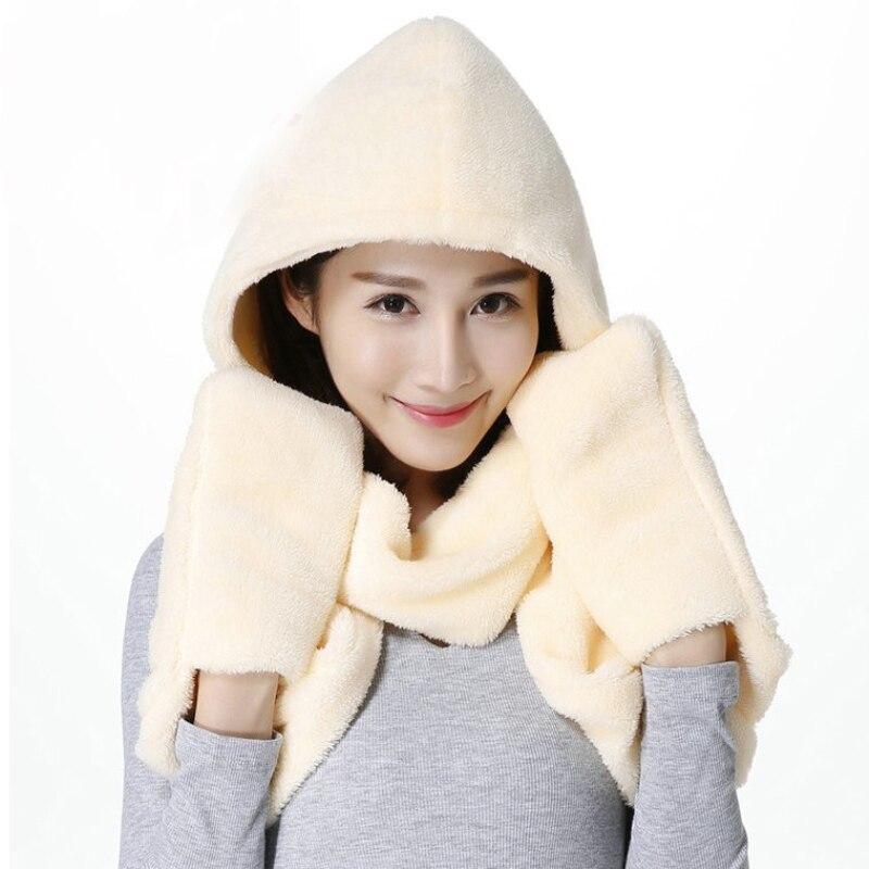 Nsh003 Neue Frauen Schal Hut Handschuhe Sets Solide Plain Damen Winter Sets Warme Flush Winter Kappe Set 3 In 1 Frauen Hüte Und Schals Schrumpffrei
