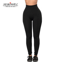 SEBOWEL 2017 New Black Sports Long Pants Women Gym Legging High Waisted Running Trousers Femme Slim