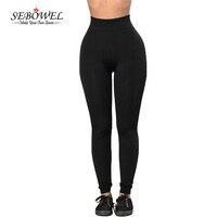 SEBOWEL 2017 New Black Sports Long Pants Women Gym Legging High Waisted Running Trousers Femme Slim