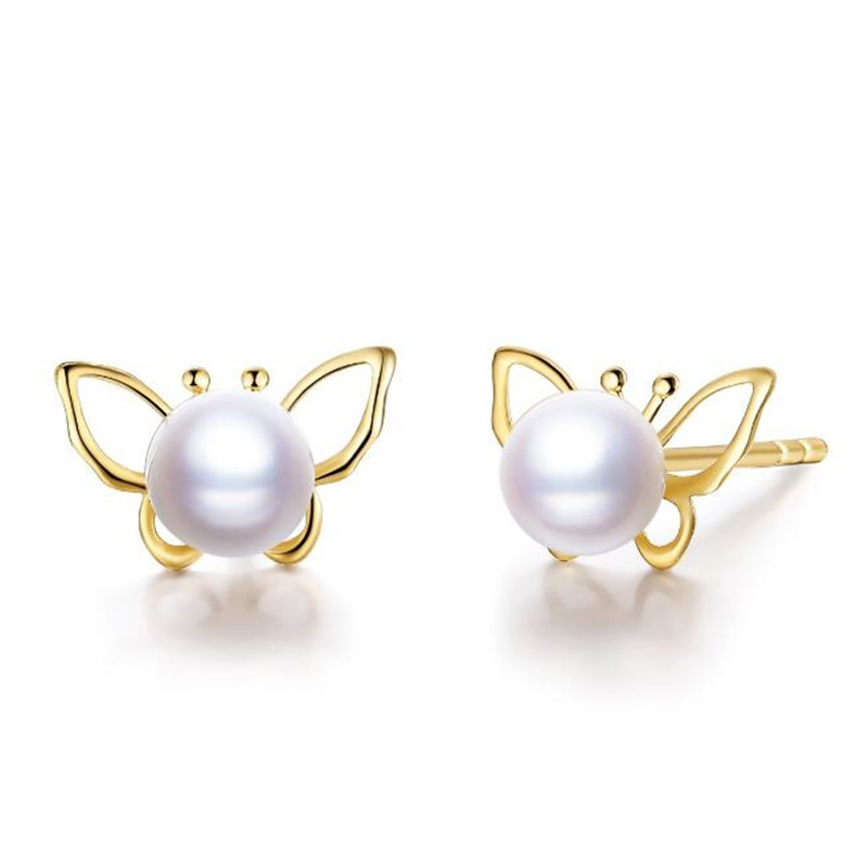 18K Yellow Gold Natural Cultured Freshwater Pearl Stud Earrings For Women Cute Butterfly AAAAA Luster Round White Pearl Earrings цена 2017