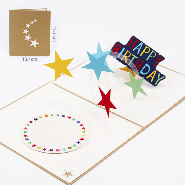 1 Pc 3d Birthday Cards Rainbow Stars Children Birthday Card Cartoons