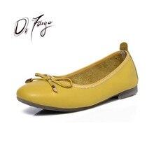 Купить с кэшбэком DRFARGO Genuine leather Shoes Women Square Toe Ballet Flat for Women Bowtie New Slip-On Soft Sole Comfort Casual Work Shoe Flat