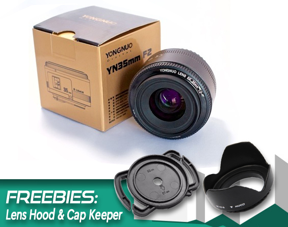 Ready Stock! Original YONGNUO 35mm f2 Lens YN35mm Large Aperture Auto Focus Lens for Canon EOS 5D Mark III 450D 60D 7DII 6D