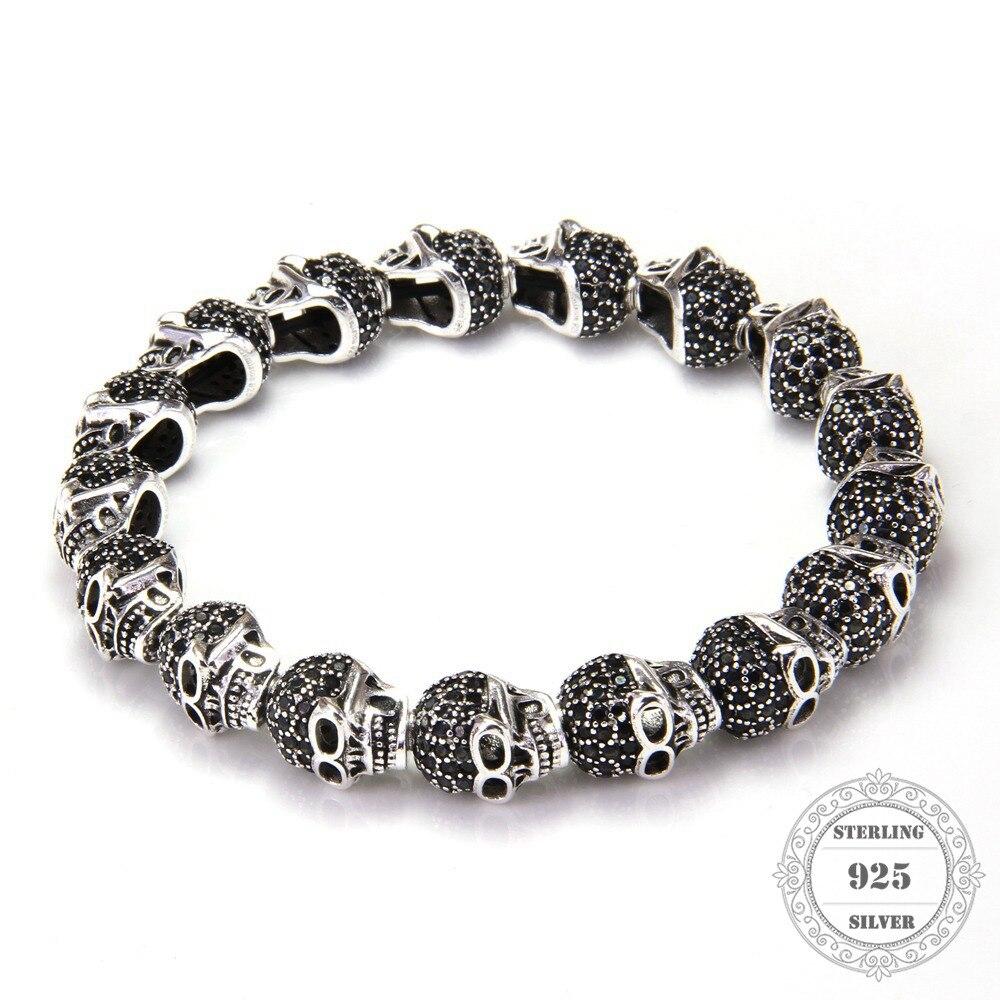 HEMISTON Punk 925 ստերլինգ արծաթագույն գանգ սև CZ Beads ձեռնաշղթաներով, 14CM-24CM, կանացի և տղամարդկանց նուրբ զարդեր TS 020
