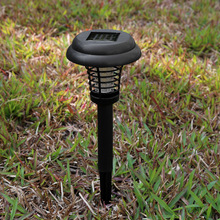 Solar Powered Outdoor Yard Garden Lawn Light Waterproof Anti Mosquito Insect Pest Bug Zapper Killer Trapping LED Lamp
