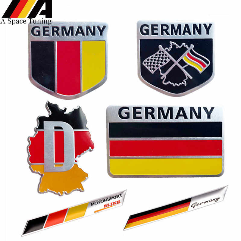 3D Metal Germany German National Flag Badge Car Front Grill Grille Emblem Sticker Racing Sports Decal for VW Benz BMW Audi Sline