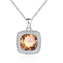 New silver Champagne cubic zirconia fashion jewelry womens necklace pendant Square P2066