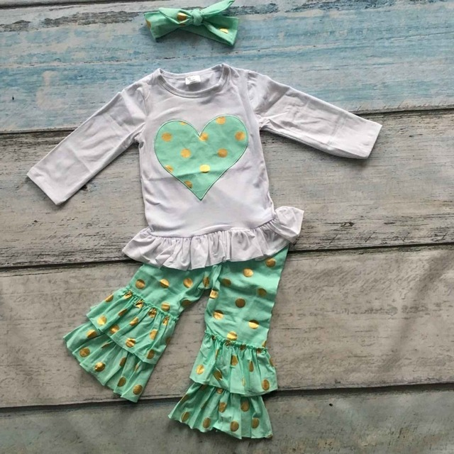 7ec39e255bb5 baby clothes children fall boutique outfits kids Valentines mint heart top  sets Gold point ruffle capri