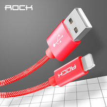 ROCK MFI USB Cable For iPhone 8 X 7 6S Plus iPad Metal Nylon Braid 2.4A Fast Charging iPhone 6 5s USB Data Cable Phone Cable