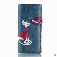 2017 mode Charakter Katze Brieftasche Frauen Schöne Damen Geldbörse 2 Falten haspe Frauen Brieftaschen Kostenloser Versand