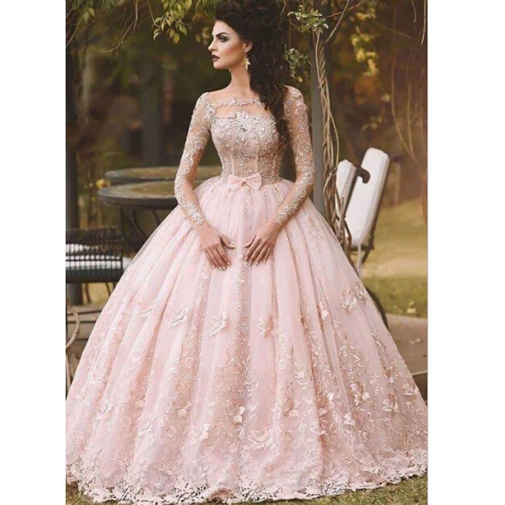 2016 Fashion Pink Bateau Appliqued Beaded Long Sleeve Puffy Princess ...