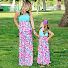 2017 Parent-Child Printing Sleeveless Maxi Long Dress Mother Daughter Dresses Family Clothes Outfits Beach Holiday Wear