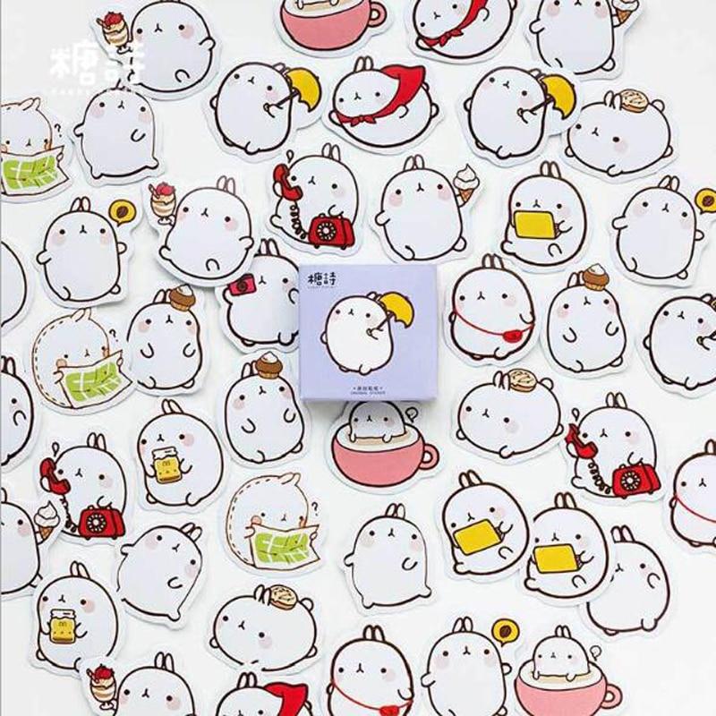 45Pcs/box New Cute Bunny Rabbit Charactor Sticker Cartoon Diary Scrap Book Scrapbooking Decor Decoration Lot Korean Stationery