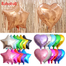 New 18-inch rose gold star and heart aluminum balloon children's birthday party bride and groom wedding decoration foil balloons(China)