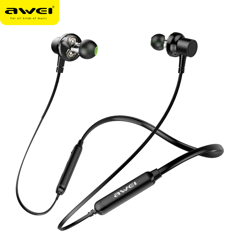 AWEI G20BL Bluetooth Earphone Headphones Wireless Earphone Bass Dual Driver Headset With Mic Neckband Auriculares fone de ouvido-in Bluetooth Earphones & Headphones from Consumer Electronics on AliExpress
