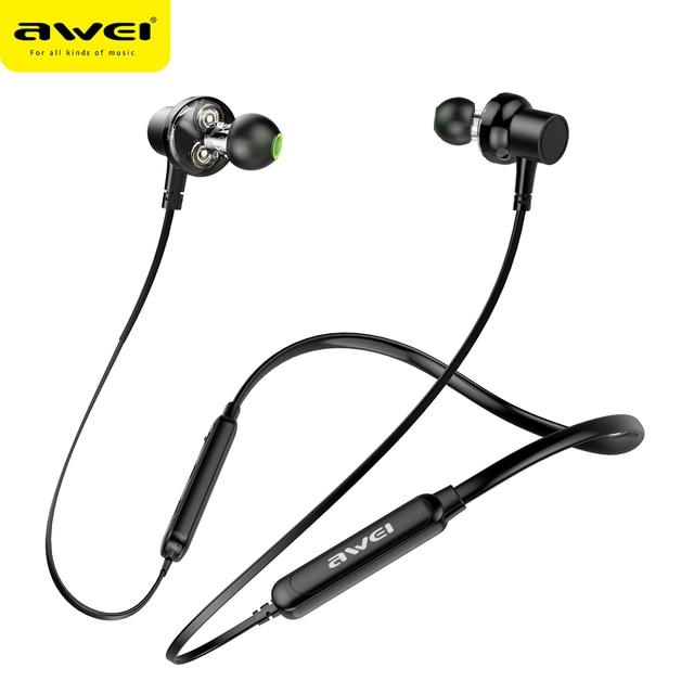 AWEI G20BL Bluetooth наушники беспроводной наушники-воротник гарнитура  динамик двойной драйвер для телефонов шлем Auriculares 2dc098c663ad3
