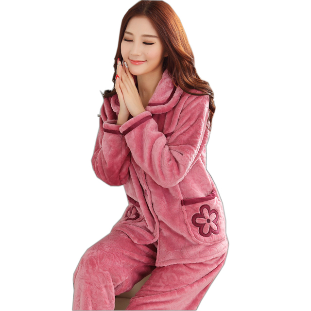 Otoño Wintert Mujeres de Manga Larga Pijama de Franela Gruesa Coral Fleece Trajes Pijama Encantadora Pijamas Homewear Mujeres Más El Tamaño