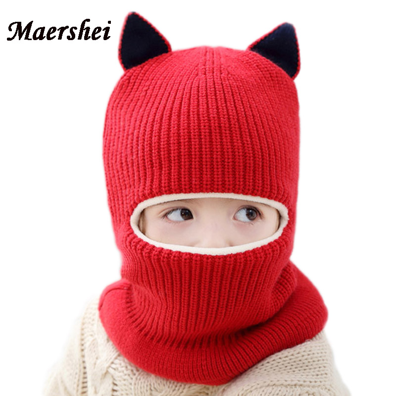 MAERSHEI 2018 New Baby Girl Winter Hat Warm And Velvet Beanies Knitted Cap Kids Balaclava Mask Hats Gorras