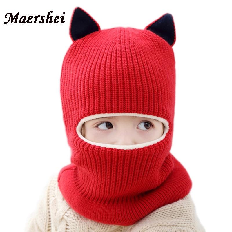 MAERSHEI 2018 nuevo bebé niña invierno sombrero de terciopelo y gorros de  punto de los niños Balaclava máscara sombreros Gorras - AROMAN.ME 874f72e78b1