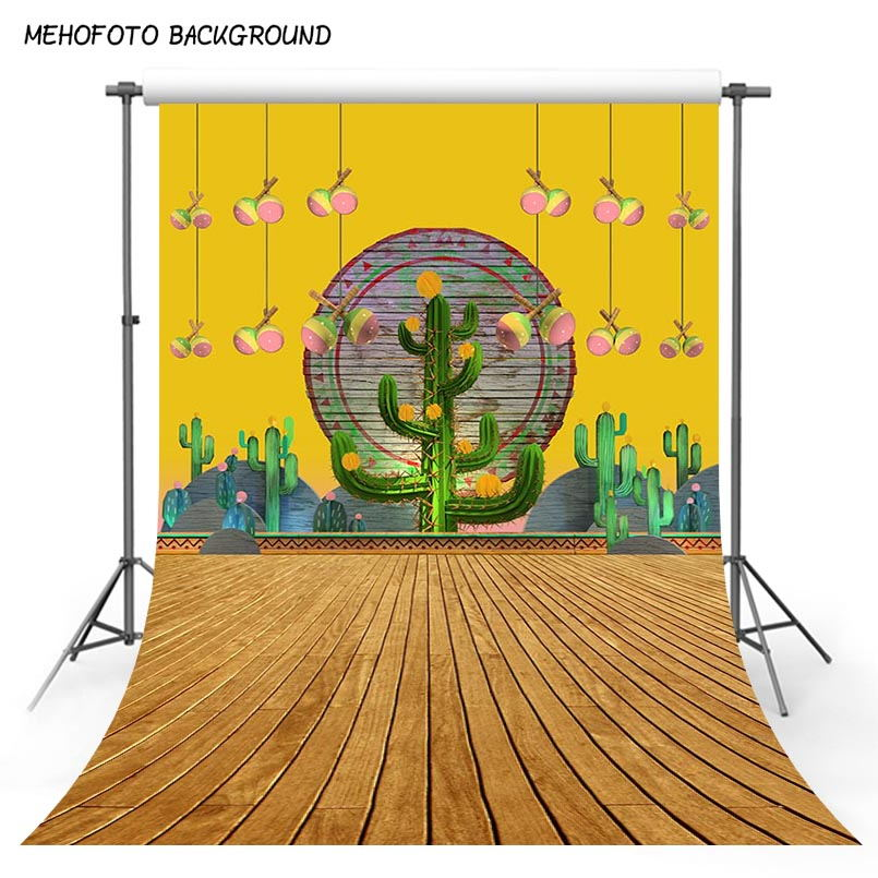 5x7 Photography Backgrounds Orange Desert Cactus Green Trees Backdrops for Photo Studio Brown Wood Floor Baby Picturs fotografia