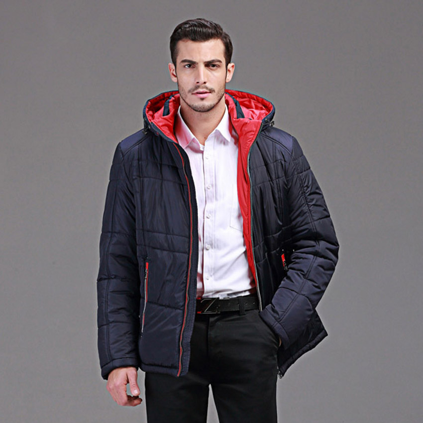 winter parka men for Europe and USA branding clothing Slim casual warm jacket with a hooded Men's red blue winter jacket Q104