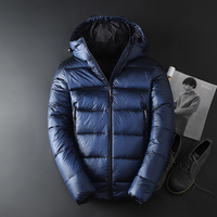 2018 Fashion Casual Men White goose down Male warm Jacket Coats Solid Hooded Casual Thicken Outwear Winter Down Jacket