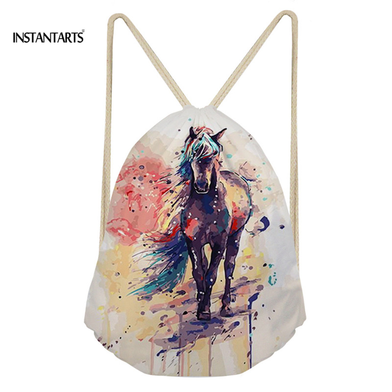 INSTANTARTS Women Men Casual Drawstring Backpack Art Horse Printing Youth Girl Boy Shoulder Bag Schoolbag Primary