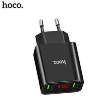 HOCO 5V 3A 2 3 Ports USB Wall Fast Charging Charger US EU Plug Power LED display Adapter F