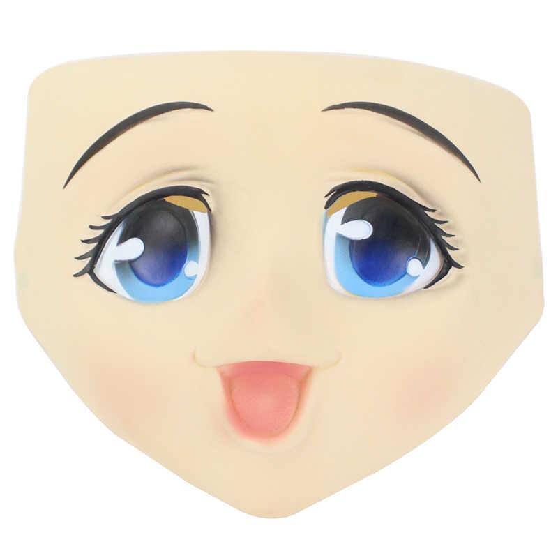 Grande olhos menina rosto cheio máscara de látex meia cabeça kigurumi máscara dos desenhos animados cosplay anime japonês papel lolita máscara crossdress boneca