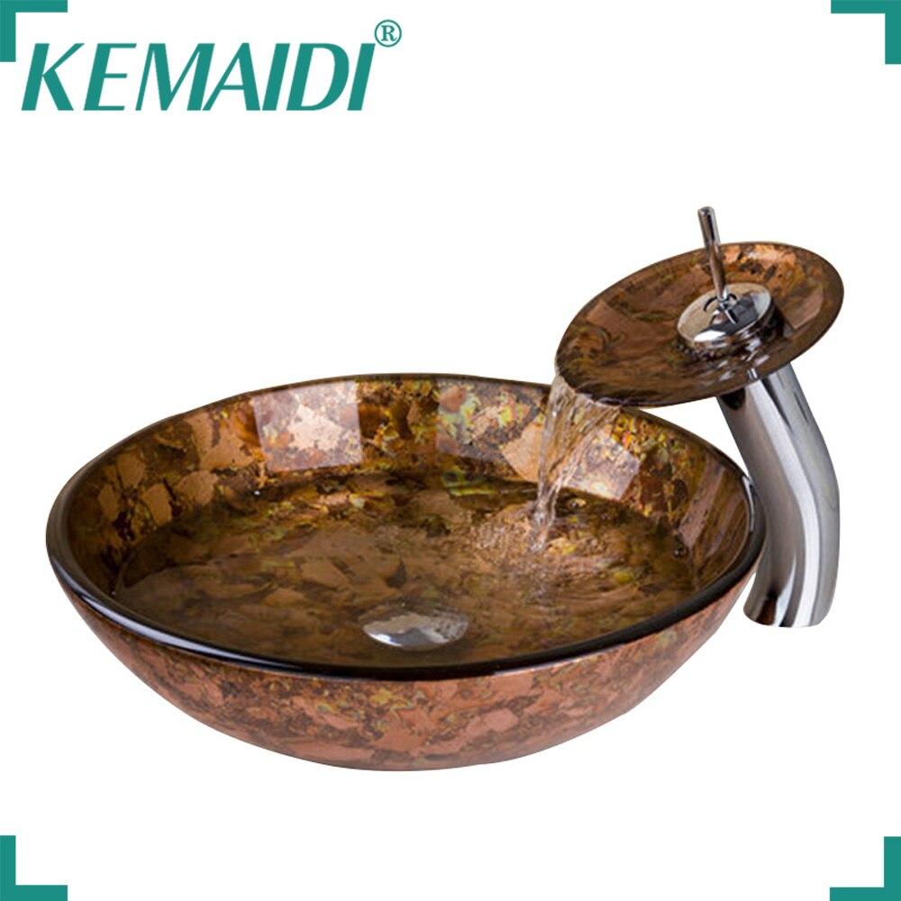 KEMAIDI peinture à la main lavabo lavabo lavabo en verre trempé robinet Combo robinets en laiton mélangeurs et robinets comptoir navire vanité