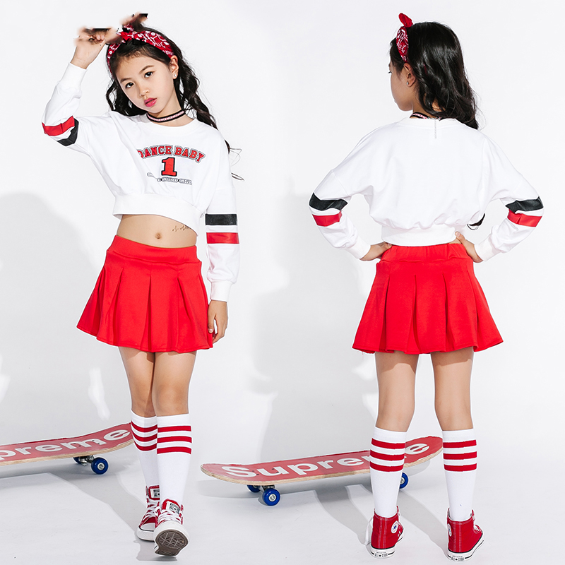 Costumes de danse Jazz pour filles Cheerleading Costume enfants Hip Hop enfants vêtements de danse de rue à manches longues jupes rouges DN1739