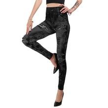 Sfit Women Faux Denim Jeans Leggings Long Pocket Printing Summer Leggings Casual High Waist Pencil Pants Plus Size Yoga Pants