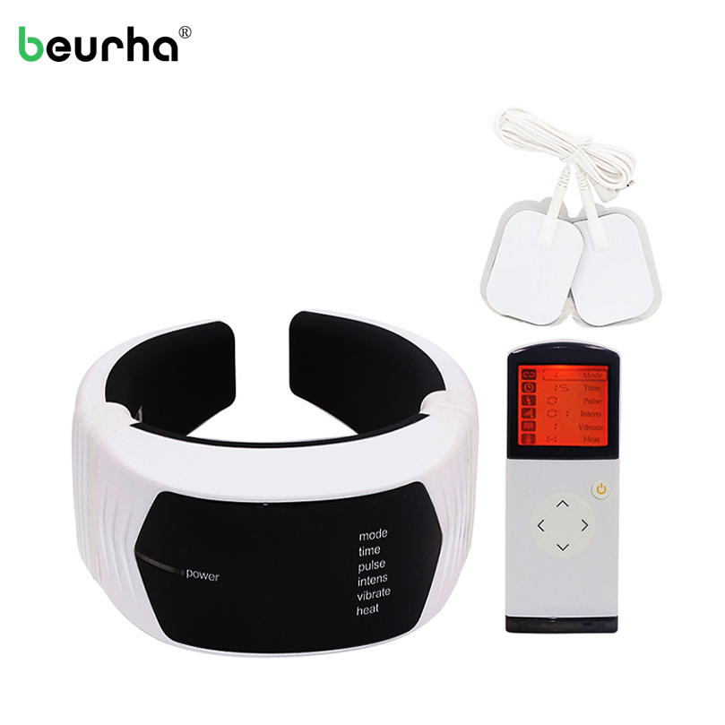 Wireless Remote Control Painless Neck Massager Cervical Spine Vibration Massage Neck Relieve Pain Fatigue Health Care Mechine 2017 household electric neck support device cervical physical therapy heated vibration cervical spine heating health care