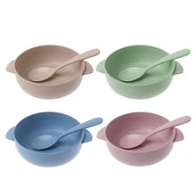 2pcs/set Baby Feeding Food Tableware Eco-Friendly Toddle Kids Dishes Child Eating Dinnerware Anti-hot Training Bowl+Spoon