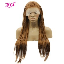 """Deyngs 18-28""""Long Braid Straight Lace Front Wigs Natural Synthetic Braiding Hair Wigs For Black Women High Temperature Fiber"""
