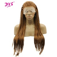 Deyngs 18 28''Long Braid Straight Lace Front Wigs Natural Synthetic Braiding Hair Wigs For Black Women High Temperature Fiber