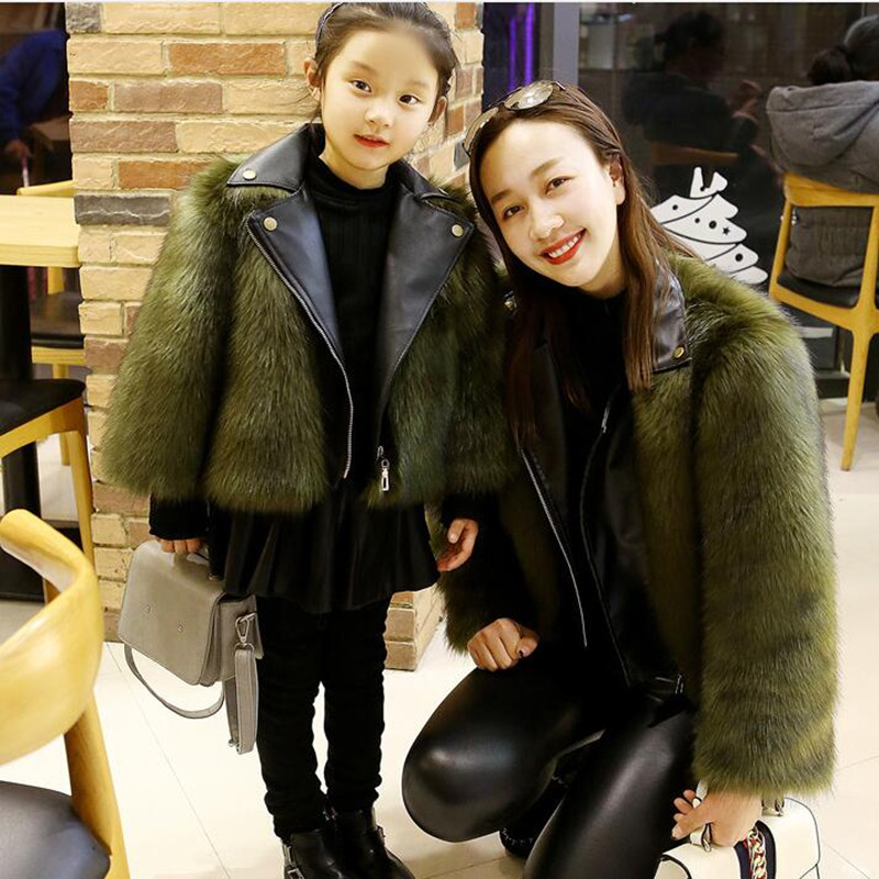 Kids Girls Fur Jacket Imitation Fox Artificial Fur Grass Plush+leather Fake 2 Pieces Winter Warm Parent-child Clothing Outerwear new autumn winter parent child women red fox fur hats warm knitted beanies real fur cap high quality kitting female fur hat