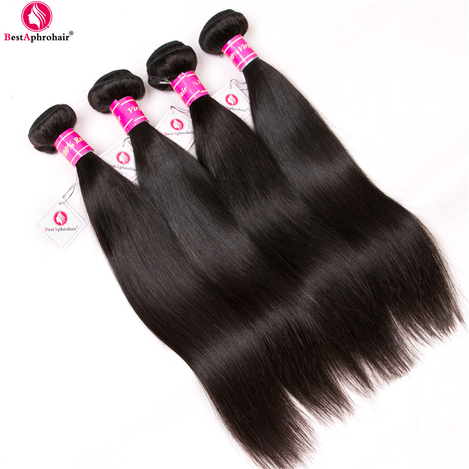 Cambodian Straight Hair Bundles With Closure 5pcs/Lot Human Hair Bundles With Lace Closure Free/Middle Part Aphro Hair Non Remy