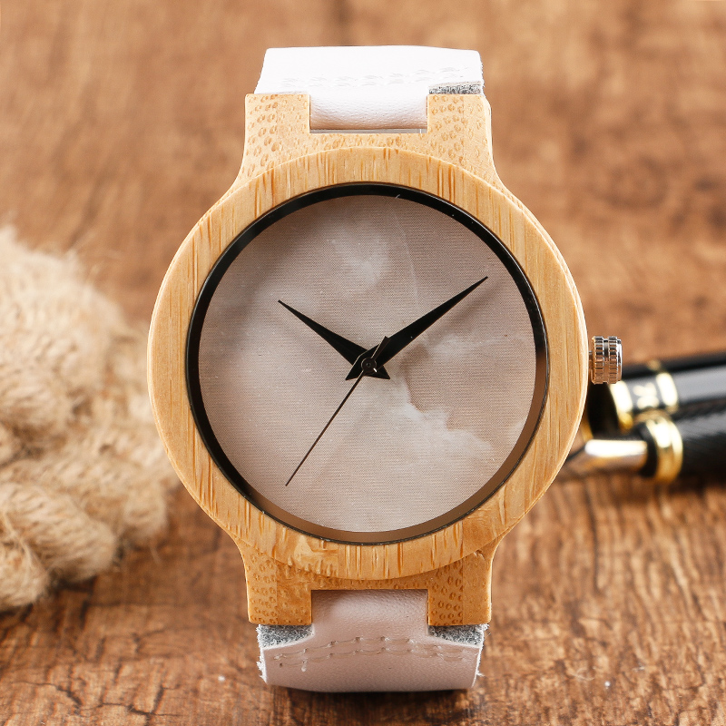 Minimalist Bamboo Watch Creative Marble Pattern Face Women Natural Cloud Wood Clock Men Quartz Wristwatch Genuine Leather Bangle creative rectangle dial wood watch natural handmade light bamboo fashion men women casual quartz wristwatch genuine leather gift