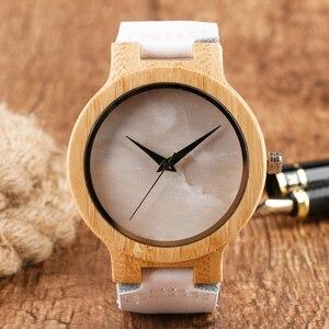 Image 1 - Minimalist Bamboo Watch Creative Marble Pattern Face Women Natural Cloud Wood Clock Men Quartz Wristwatch Genuine Leather Bangle