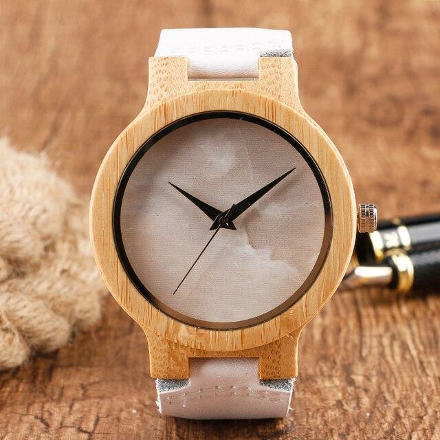 Minimalist Bamboo Watch Creative Marble Pattern Face Women Natural Cloud Wood Clock Men Quartz Wristwatch Genuine Leather Bangle