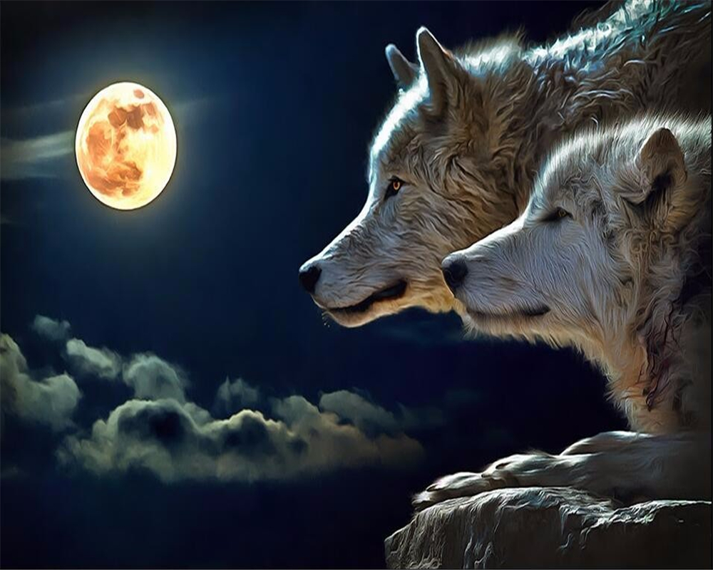 US $8 85 OFF Beibehang Decoration Wallpaper 3d Night Moon Animal Wolf Background Wall Covering Murals 3d Living Room Bedroom Home Wallpaper