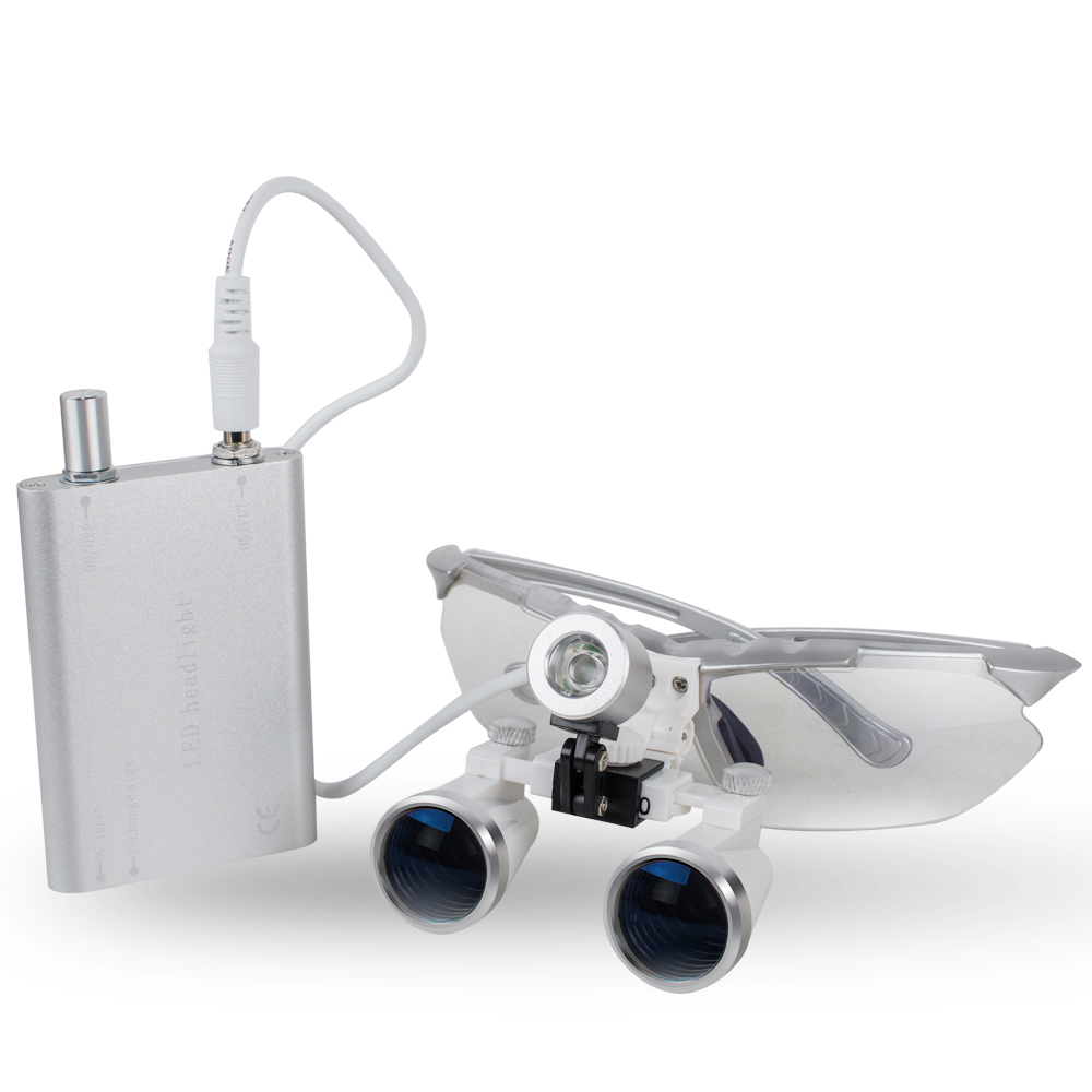 3.5X420mm Dental Loupes, Surgical Binocular loupes + Head LED Light Lamp CE Silver Color цены